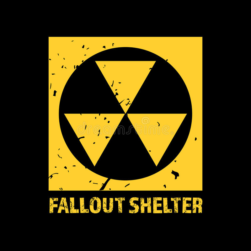 Fallout Shelter. Vintage Nuclear Symbol. Radioactive Zone Sign. Vector Illustration stock illustration