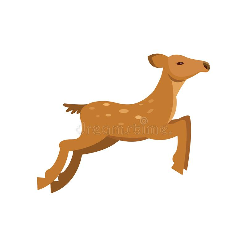 Fallow sika roe deer jumping, wild animal cartoon vector Illustration. On a white background royalty free illustration