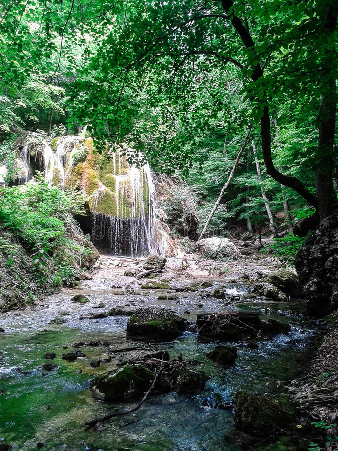 Falls and bed of a mountain river on the Russian coast of the Black Sea. stock images
