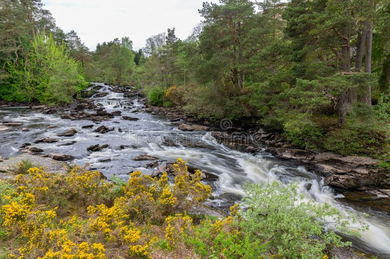 Falls of Dochart near Killin in Scottish Highlands, long exposure. Photograph royalty free stock image