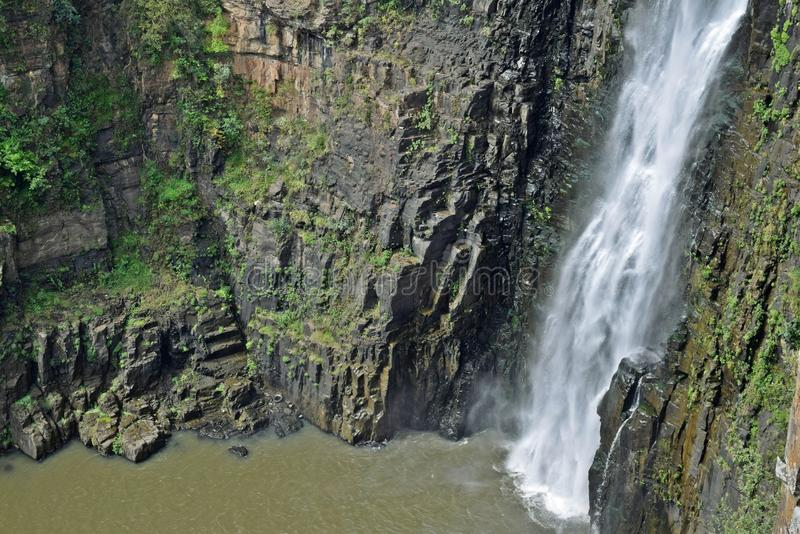The falls drop. The lower region of the Howick falls in KZN South Africa stock image