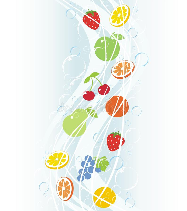 Falls of fruit with bubbles. And drops stock illustration