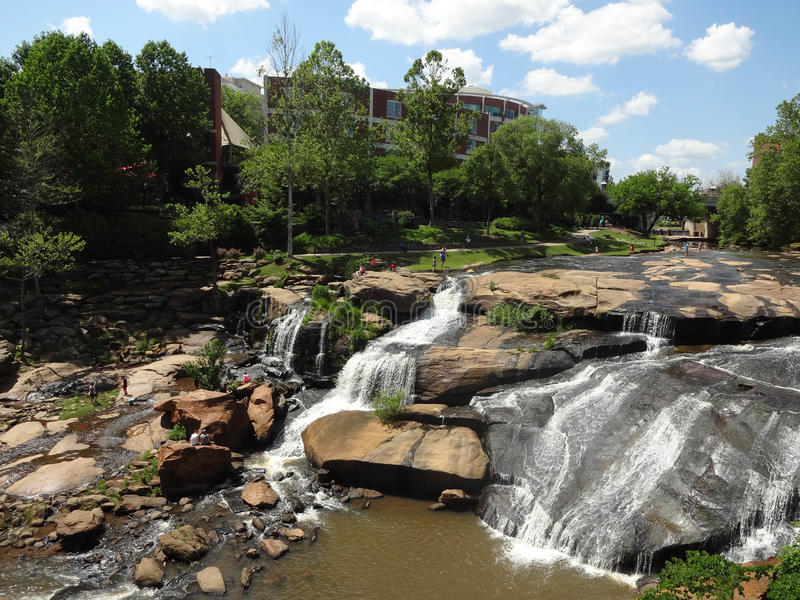Falls Park on the Reedy in Greenville, SC. Falls Park on the Reedy River in downtown Greenville, South Carolina stock photos
