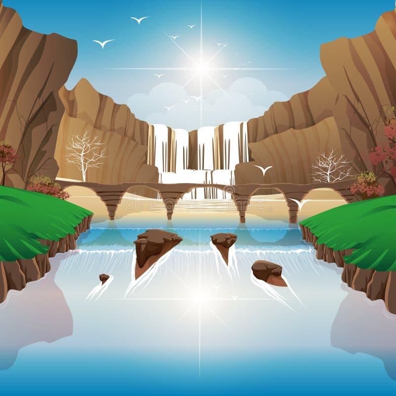 Falls and River Bridge royalty free stock image