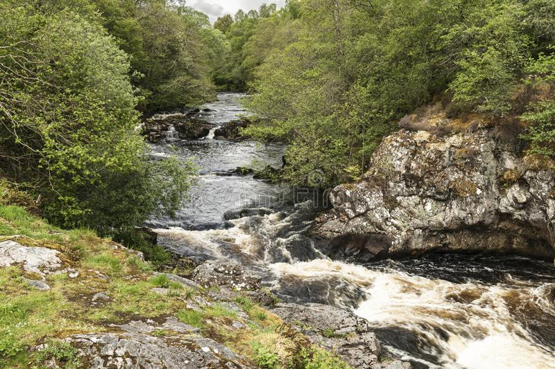 Falls of Shin. The Falls of Shin near the Sutherland town of Lairgs, Scotland stock image