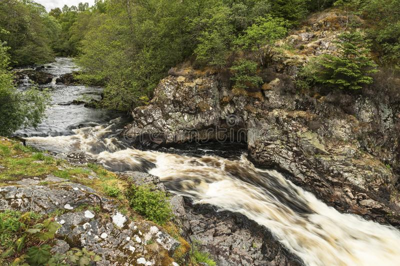 Falls of Shin. The Falls of Shin near the Sutherland town of Lairgs, Scotland stock photos