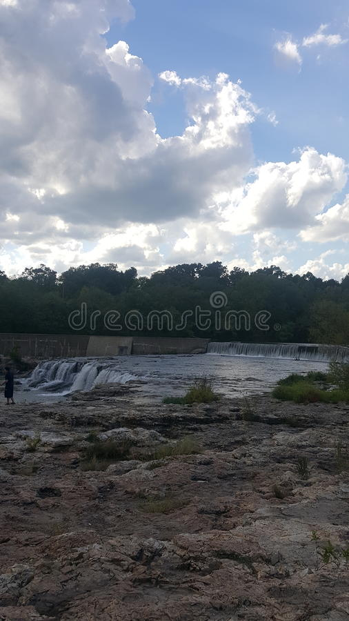 The Falls of water at the Falls in joplin missouri royalty free stock images