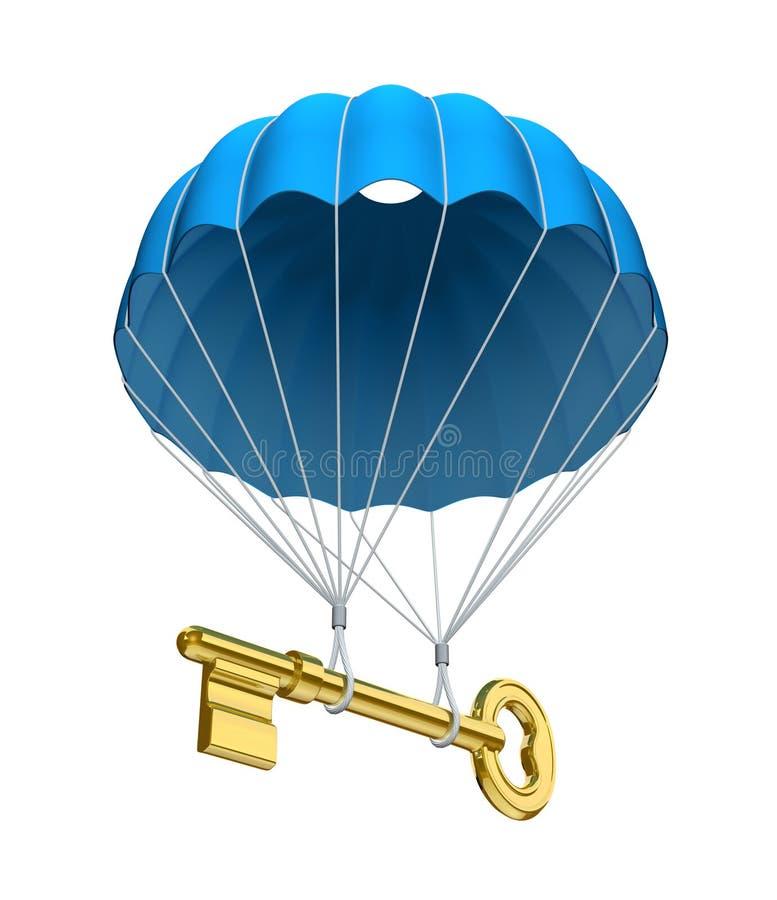 Fallschirm mit der Taste stock abbildung