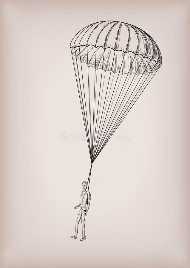 Fallschirmrutschebrolly oder Schutzengel mit Mannpersonenfliege, Florida stock abbildung