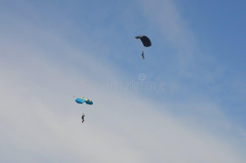 Fallschirmspringer, der Spaß während des Tagesfluges hat lizenzfreies stockbild