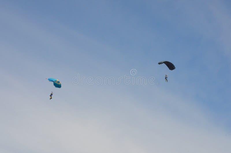 Fallschirmspringer, der Spaß während des Tagesfluges hat lizenzfreie stockfotos