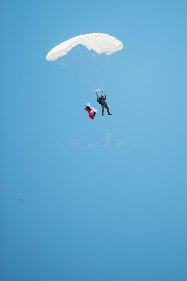 Fallskärmshoppare med den slovakiska flaggan, Senec, Slovakien arkivfoton