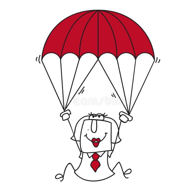Fallskärmsjägareaffärskvinna stock illustrationer