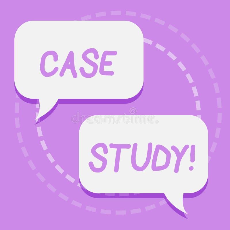 Fallstudie för handskrifttexthandstil Begreppsbetydelserekord av forskning in i utveckling av särskilt läge två royaltyfri illustrationer