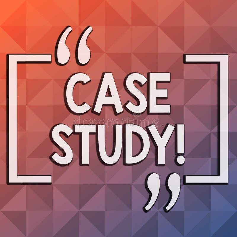 Fallstudie för ordhandstiltext Affärsidé för rekord av forskning in i oändlig utveckling av det särskilda läget royaltyfri illustrationer