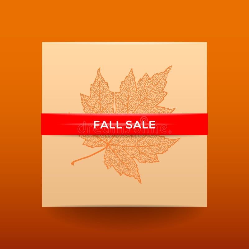 Fallverkaufsplakat mit getrockneten Blättern und einfachem Text lizenzfreie abbildung
