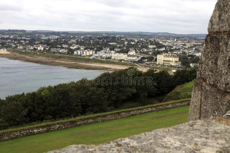 United Kingdom. Falmouth England, UK - August 15, 2015: A view of Pendennis castle and park, Falmouth, Cornwall, England, United Kingdom stock image
