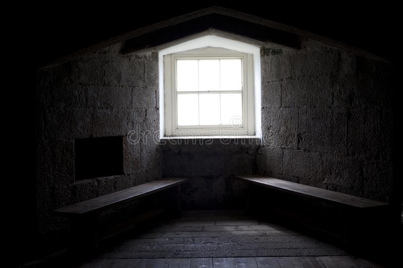 United Kingdom. Falmouth England, UK - August 15, 2015: Windows in Pendennis castle fortification, Falmouth, Cornwall, England, United Kingdom stock photo