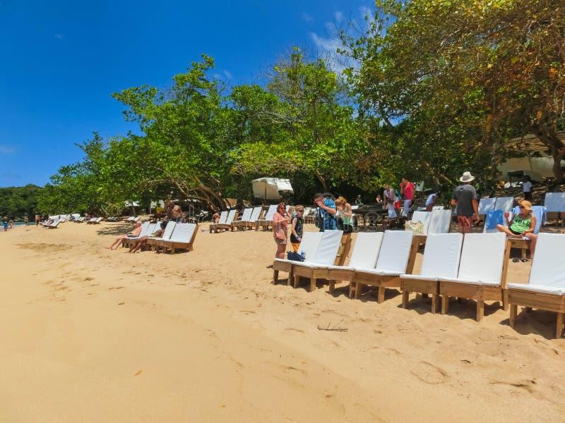 Falmouth, Giamaica - 2 maggio 2018: Il mare e la sabbia alla spiaggia di bambù in Giamaica fotografia stock libera da diritti