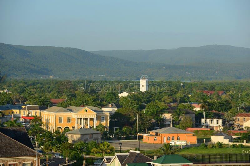 Falmouthgerechtsgebouw en Kerk, Jamaïca royalty-vrije stock foto's