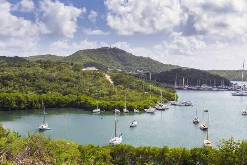 Falmouthhaven Mening van Shirely-Hoogten, Antigua, het Westen Indie royalty-vrije stock afbeeldingen