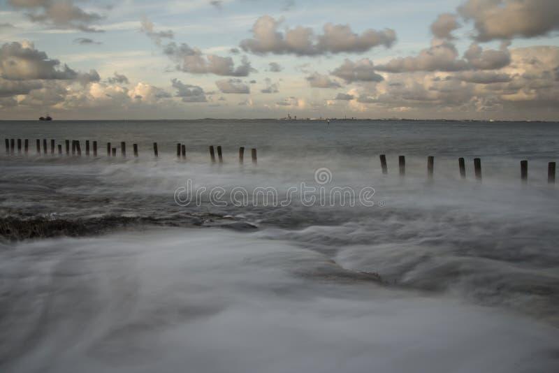 Falochrony na wybrzeżu w Zeeuws-Vlaanderen, Zeeland holandie zdjęcia royalty free