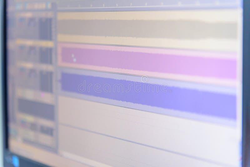 Falowa kartoteka dźwięk na monitorze zdjęcie stock