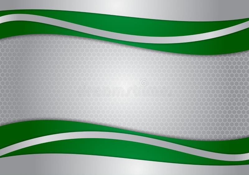 Falowa zieleń i srebra abstrakcjonistyczny wektorowy tło ilustracji