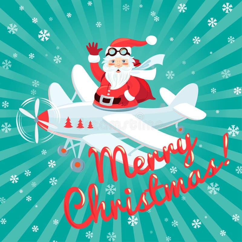 Falowania Święty Mikołaj latanie na samolocie z workowy pełnym presetn ilustracja wektor