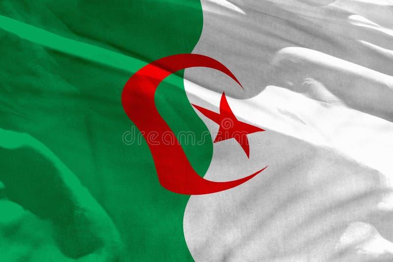 Falowania Algieria flaga dla używać jako tekstura lub tło flaga jest trzepotliwa na wiatrze zdjęcia royalty free
