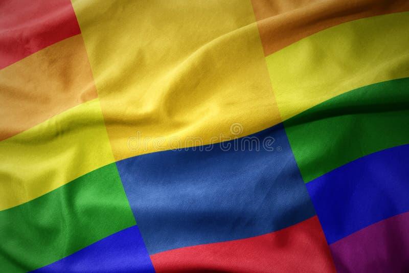 Falowania Colombia tęczy homoseksualnej dumy flaga sztandar obraz royalty free