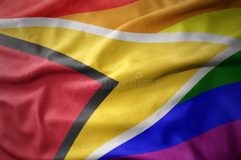 Falowania Guyana tęczy homoseksualnej dumy flaga sztandar obrazy stock