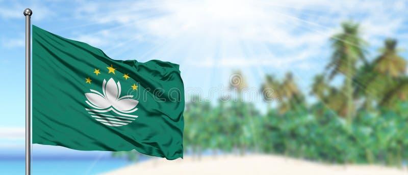 Falowania Macao flaga w pogodnym niebieskim niebie z lato plaży tłem Urlopowy temat, wakacyjny poj?cie zdjęcie stock