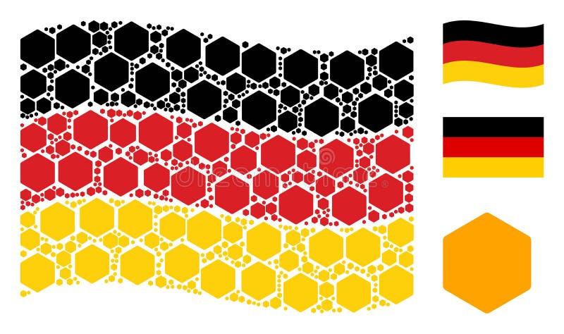 Falowania Niemcy flaga kolaż Wypełniać sześciokąt ikony ilustracji