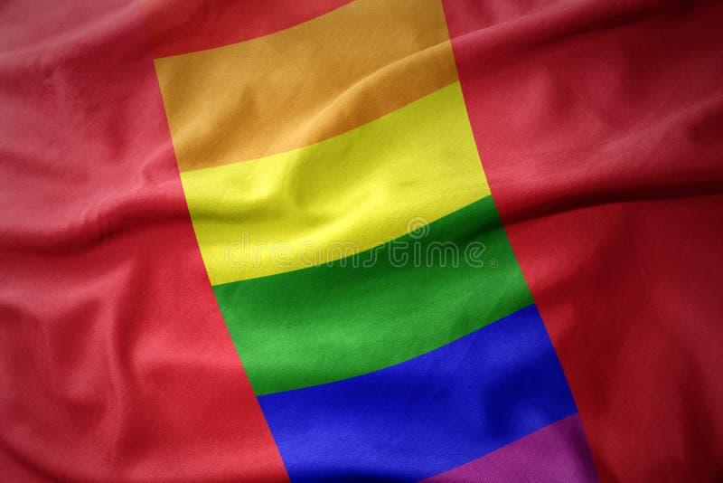 Falowania Peru tęczy homoseksualnej dumy flaga sztandar obrazy stock