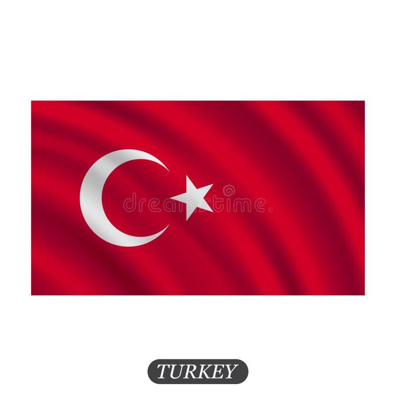 Falowania Turcja flaga na białym tle również zwrócić corel ilustracji wektora ilustracji