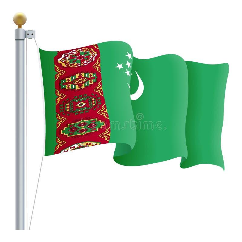 Falowania Turkmenistan flaga Odizolowywająca Na Białym tle również zwrócić corel ilustracji wektora royalty ilustracja