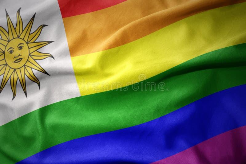 Falowania Uruguay tęczy homoseksualnej dumy flaga sztandar obraz royalty free
