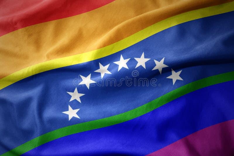 Falowania Venezuela tęczy homoseksualnej dumy flaga sztandar zdjęcie stock