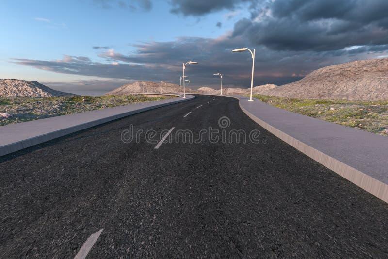 Falowanie droga w opustosza?ych przedmie?ciach, 3d rendering ilustracja wektor