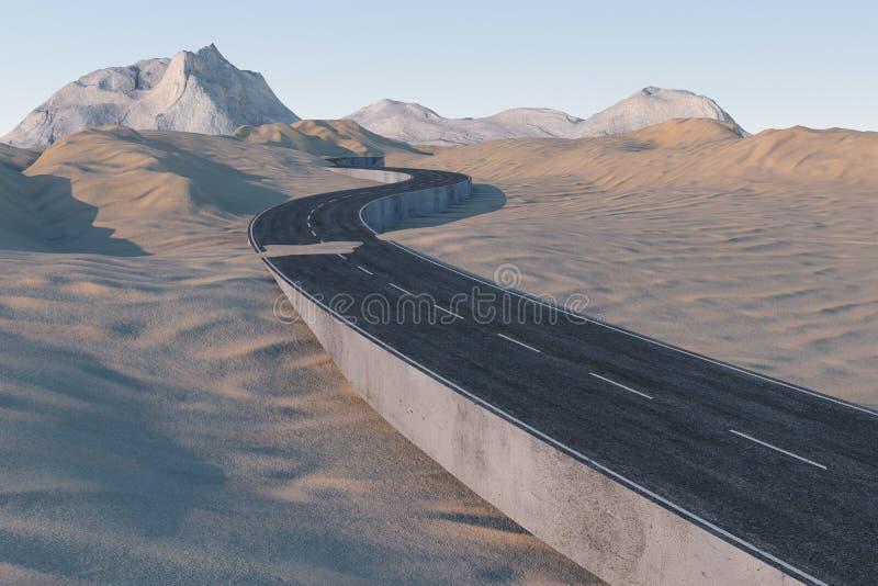 Falowanie droga w pustyni, 3d rendering ilustracja wektor