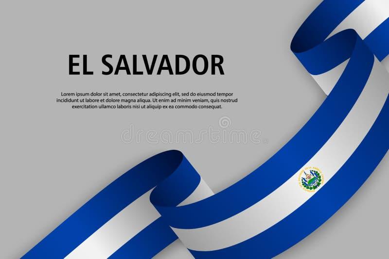 Falowanie faborek z flagą Salwador royalty ilustracja