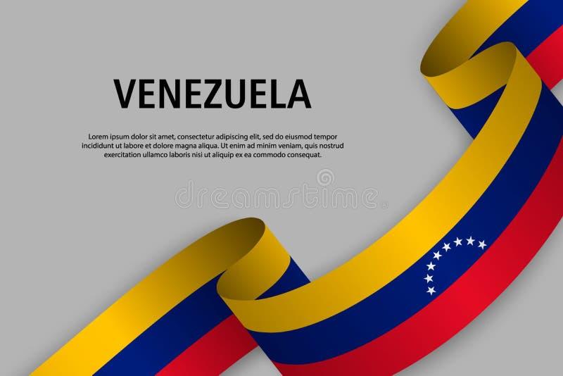 Falowanie faborek z flagą Wenezuela royalty ilustracja
