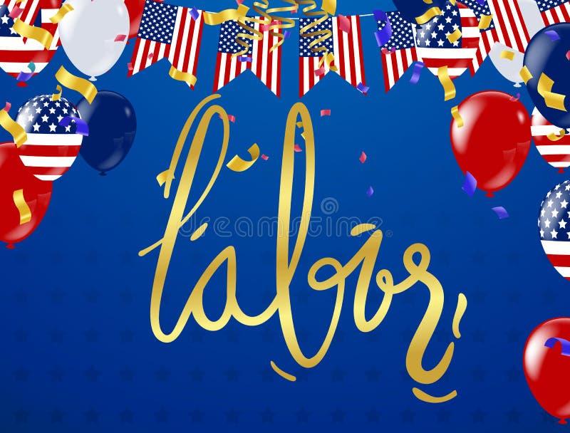 Falowanie flaga amerykańska z typografii świętem pracy, Wrzesień 7th, U ilustracja wektor