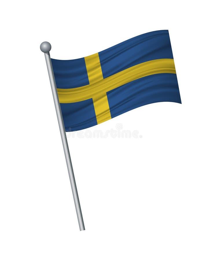 falowanie flaga na flagpole, urzędników kolorach prawidłowo i proporcji, Wektorowa ilustracja odizolowywa na białym tle royalty ilustracja