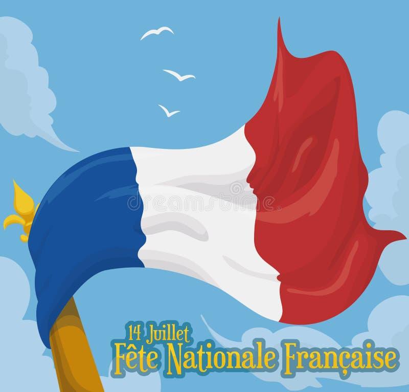 Falowanie francuza flaga Up w niebie w święcie państwowym, Wektorowa ilustracja ilustracja wektor