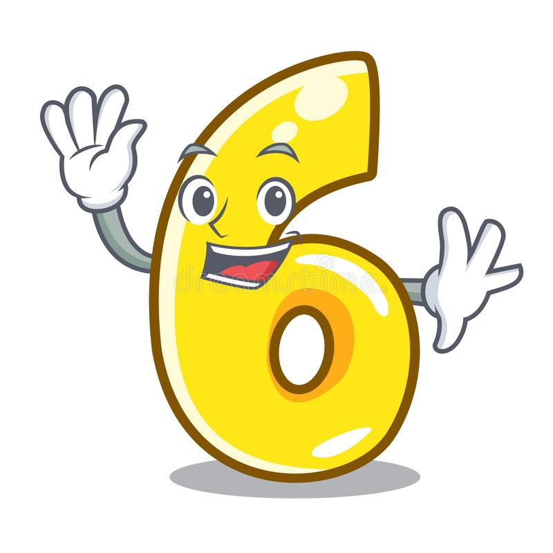 Falowanie kreskówka liczba sześć na drodze ilustracja wektor