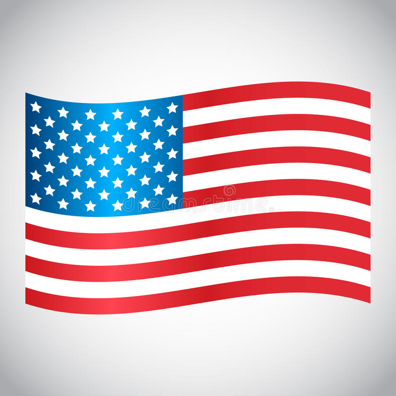 Falowanie usa flaga na szarym tle również zwrócić corel ilustracji wektora ilustracji