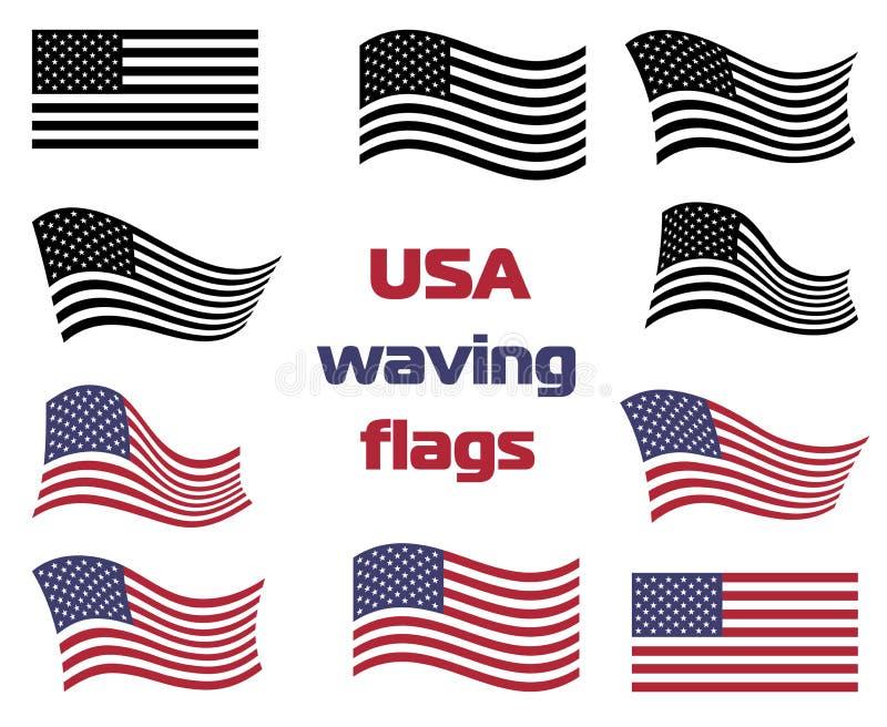 Falowanie usa flaga państowowa ustalony wektorowy czarny i biały i kolor ilustracja wektor
