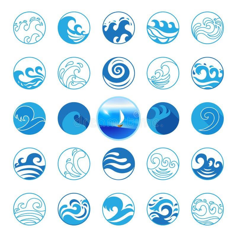 Falowe ikony ustawiać Wodny symbolu lub loga projekt Ocean, morze, plaża ilustracja wektor